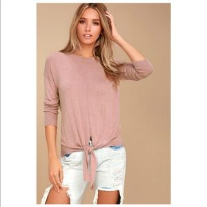 ✨OLIVE & OAK✨ ELORA MAUVE PINK KNOTTED SWEATER TOP